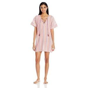 Lucky Brand Boho Pink Stripe Lace Up Caftan Dress